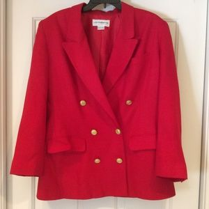 Liz Claiborne Collection Red Blazer Lined Size 10